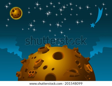 Planet with craters and volcanoes on the background of the space - stock vector