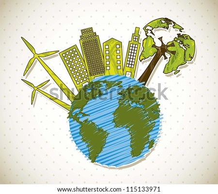 planet with ecology icons, ecology planet. vector illustration