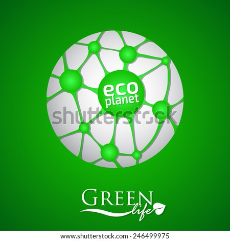 Planet with green eco net, connection and ecological icon - stock vector