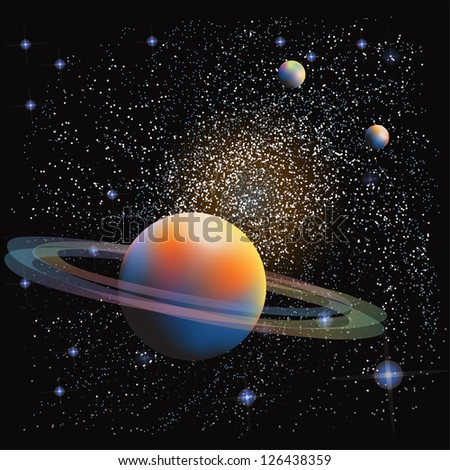Planet with ring over spiral nebula background. - stock vector