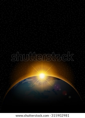 Planet with shiny sunrise in black space. - stock vector