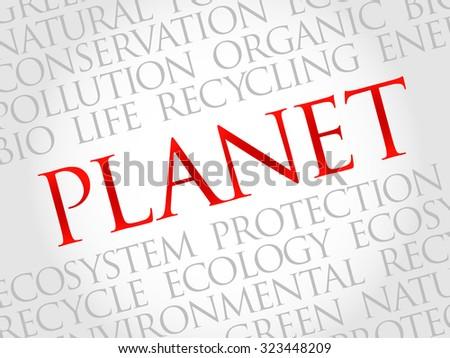Planet word cloud, environmental concept - stock vector