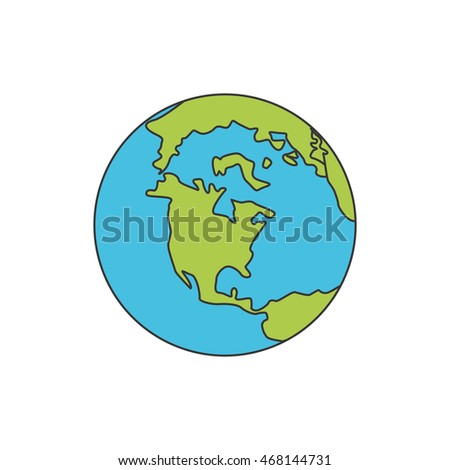 planet world earth sphere icon. Isolated and flat illustration
