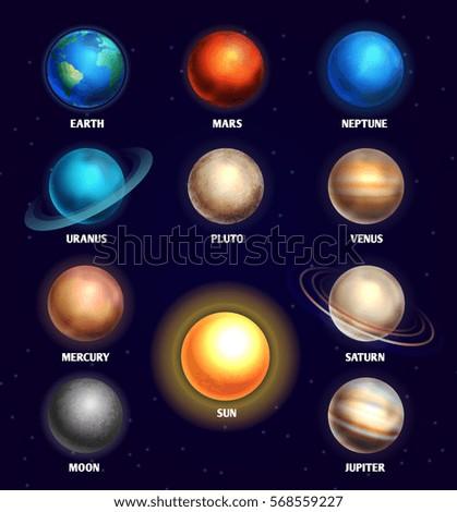 Set planets solar system cartoon style flat icon stock vector image - Planets Solar System Sun Education Vector Stock Vector