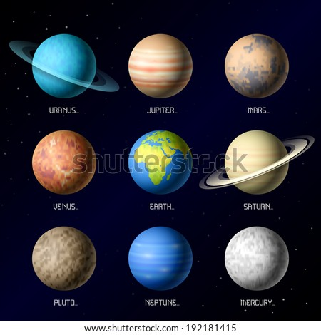 Planets of Solar System. Vector. - stock vector