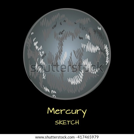 Planets of the solar system. VECTOR hand drawn planet on black background. MERCURY sketch.  - stock vector
