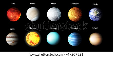 Planets Of The Solar System With Name Vector Illustration