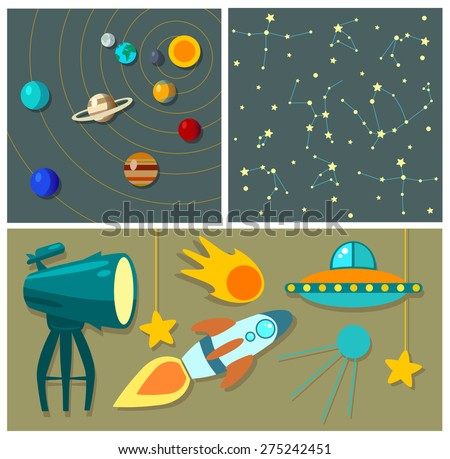 Planets, rockets and stars. Cartoon spaceship icons. Kid's elements for scrap-booking. Childish background. Hand drawn vector illustration. - stock vector