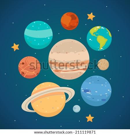 Planets: Saturn, Mars, Neptune, Earth, Venus, Mercury, Jupiter, Uranus, Pluto. Vector. - stock vector