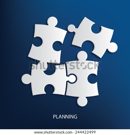 Planing concept,puzzle symbol on blue background,clean vector - stock vector