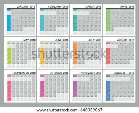 working week calendar 2018