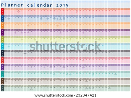 Planner calendar 2015 - with holidays posted inside - stock vector