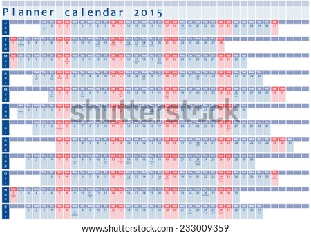 Planner calendar 2015 - with holidays posted inside, blue and red design - stock vector