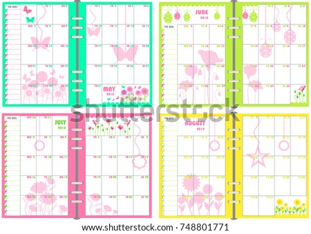 planner organizer calendar 2018 vector may june july august