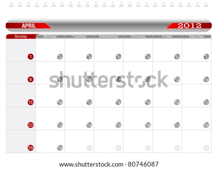 Planning Calendar -April 2012, Week starts on Sunday. - stock vector