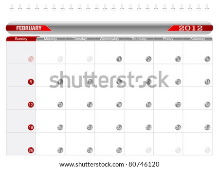 Planning Calendar -February 2012,  Week starts on Sunday. - stock vector