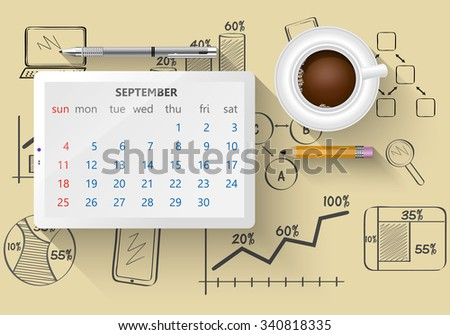 Planning calendar in the computer tablet showing the month of September - stock vector