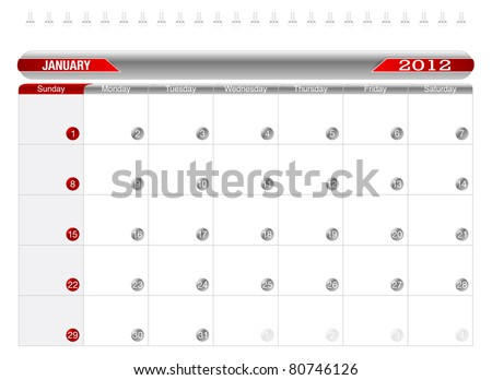 Planning Calendar -January 2012,  Week starts on Sunday. - stock vector