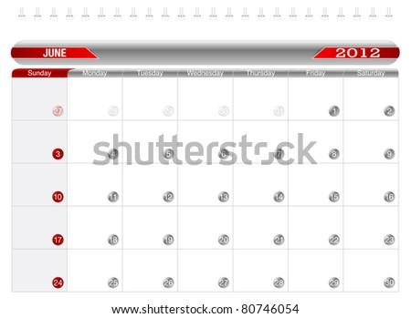 Planning Calendar -June 2012,  Week starts on Sunday. - stock vector