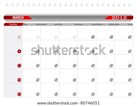 Planning Calendar -March 2012,  Week starts on Sunday. - stock vector
