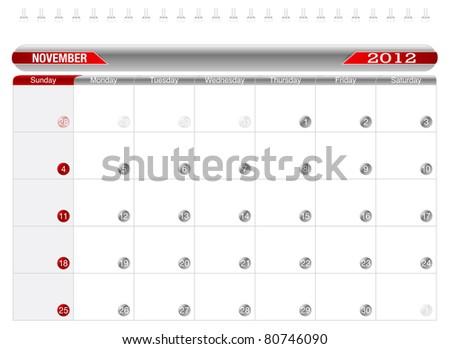 Planning Calendar -November 2012,  Week starts on Sunday. - stock vector