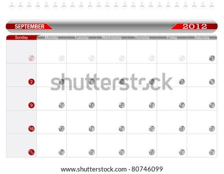 Planning Calendar -September 2012,  Week starts on Sunday. - stock vector