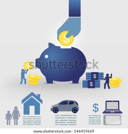 Planning money savings - stock vector