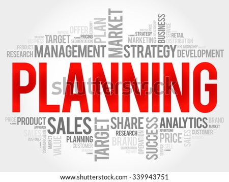 Planning word cloud, business concept - stock vector