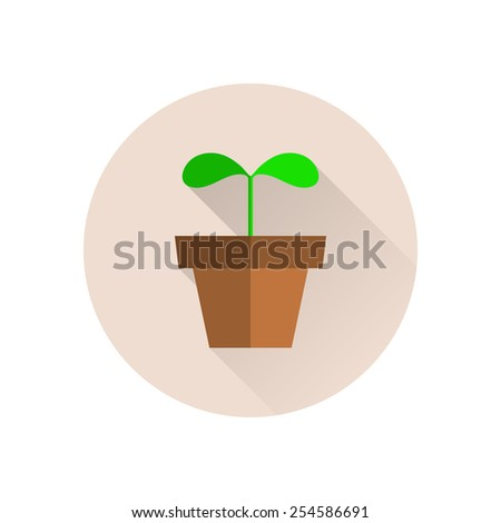 Plant flat icon with long shadow. - stock vector