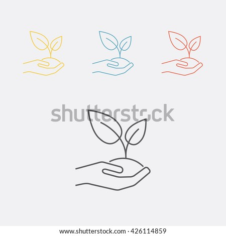 Plant, grower, herb, seedling, sapling on the hand thin line icon. Vector illustration.  - stock vector