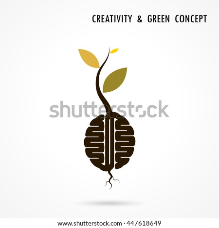 Plant Growing Inside The Brain Icon.Green Eco Energy Concept.Tree of Knowledge Logo.Human Brain Logo.Tree Logo.Green Logo.Education & Business Icon.Vector illustration - stock vector