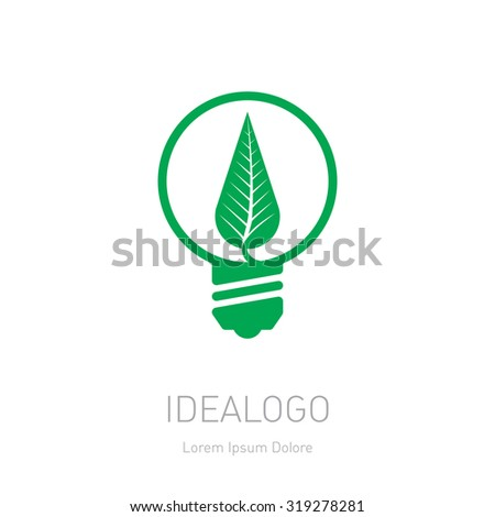 Plant growing inside the light bulb. Green eco energy concept. Vector leaf.