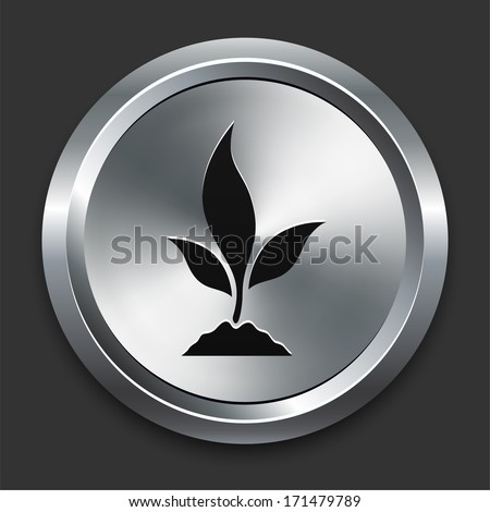 Plant Icon on Metallic Button Collection - stock vector