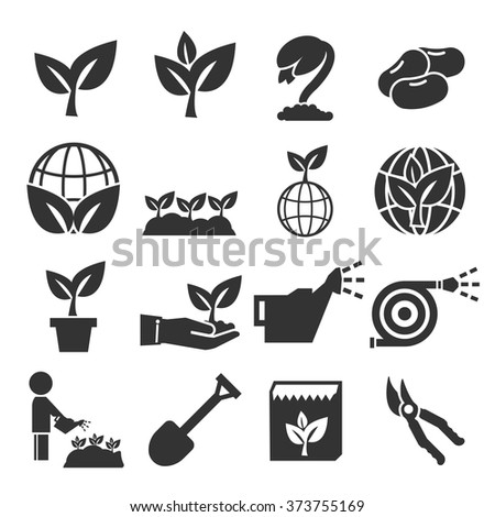 plant icon set - stock vector