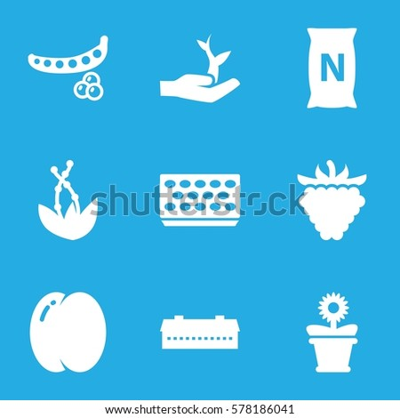 plant icon. Set of 9 plant filled icons such as barn, peach, peas, pot for plants, flower pot, raspberry