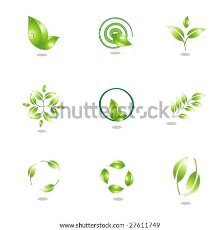 plant icons - stock vector