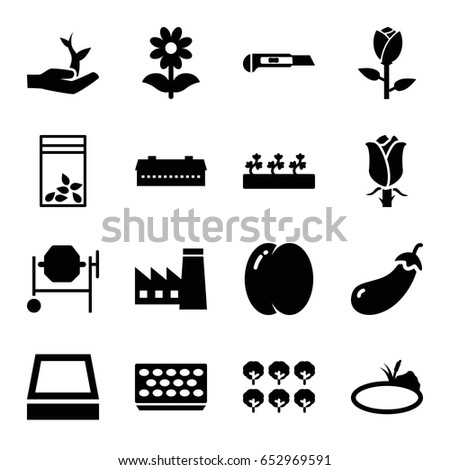 Plant icons set. set of 16 plant filled icons such as barn, peach, eggplant, tree, rose, factory, concrete mixer, cutter, pot for plants, flower, sprout plants, seed bag