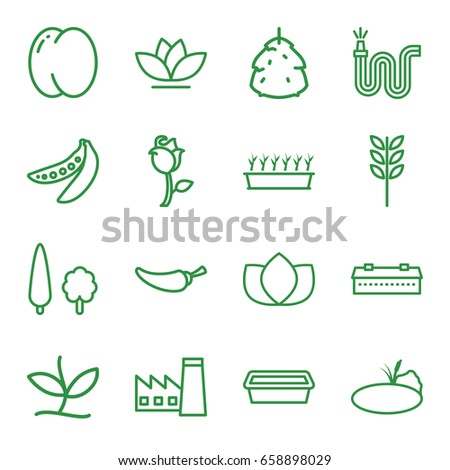 Plant icons set. set of 16 plant outline icons such as barn, berry, peach, factory, lotus, pepper, water hose, pot for plants, flower, peas, rose, tree, pond