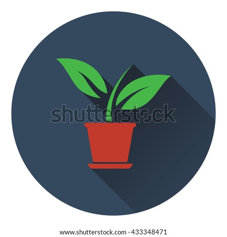 Plant in flower pot icon. Flat design. Vector illustration. - stock vector