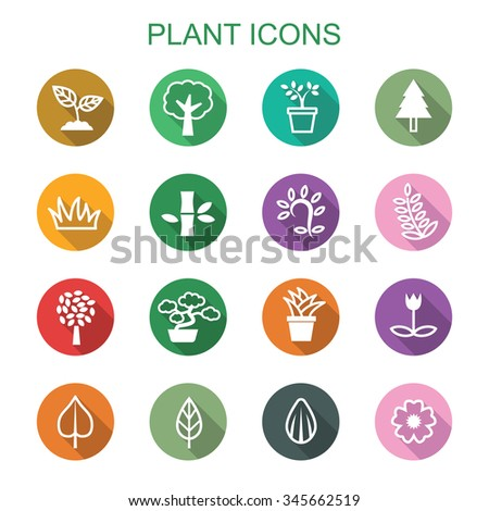 plant long shadow icons, flat vector symbols