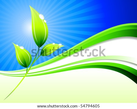 Plant on Abstract Wave Background Original Illustration