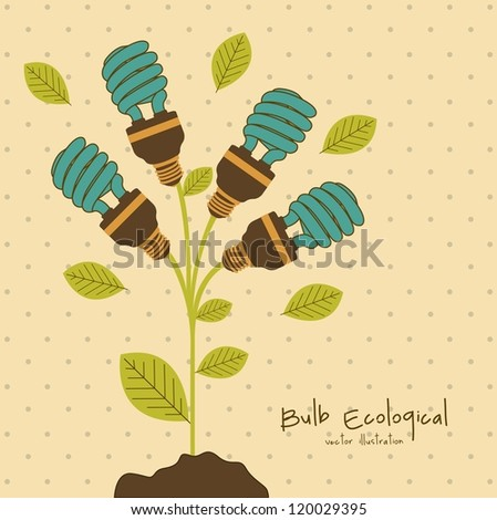 Plant producing energy saving bulbs, vector illustration - stock vector