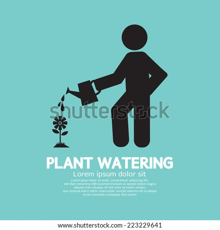 Plant Watering With Watering Can Vector Illustration - stock vector