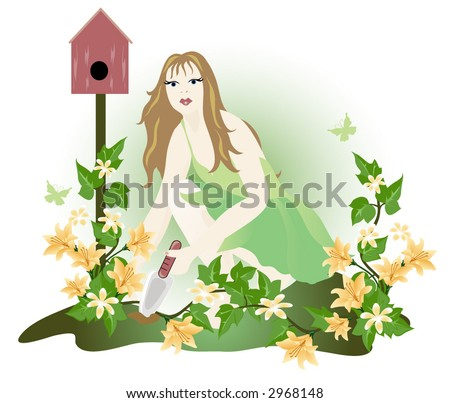 Planting a flower garden. Graphic illustration. - stock vector