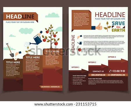 Planting tree design template for broshure cover and flyer - stock vector