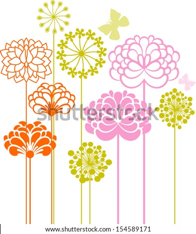 Plants and flowers - stock vector
