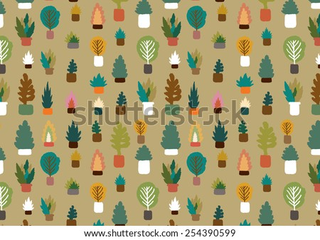 plants in a pot pattern - freehand drawing vector illustration - stock vector