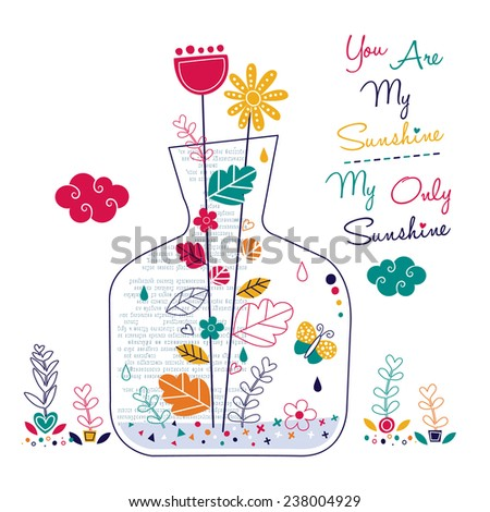 plants in bottle illustration - stock vector