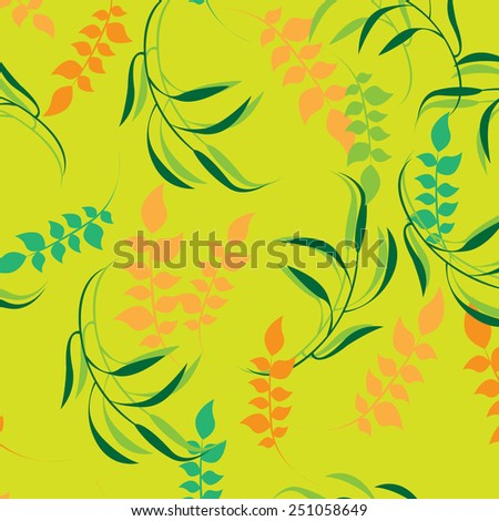 Plants Seamless Pattern Background - Illustration
