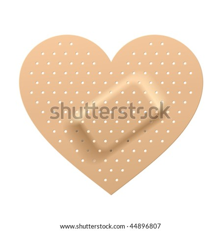 Plaster in shape of heart. Vector. - stock vector